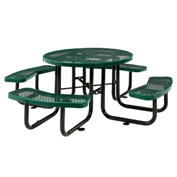 "46"" Round Expanded Metal Picnic Table Green"
