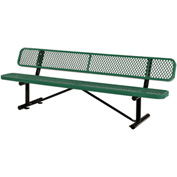 "96""  Expanded Metal Mesh Bench With Back Rest Green"