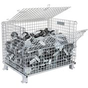 Nashville Wire Folding Wire Container GC324028S4L 40x32x34-1/2 3000-4000 Lb. Cap with Lid