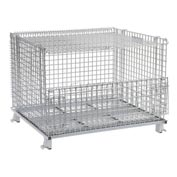 "Nashville Wire Folding Wire Container GC404830S4L 48x40x36-1/2 3000-4000 Lbs.Cap.Drop Gate 48"" w/Lid"