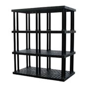 "Structural Plastic Vented Shelving, 66""W x 36""D x 75""H, Black"