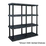 "Structural Plastic Solid Shelving, 66""W x 24""D x 75""H, Black"