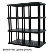 "Structural Plastic Solid Shelving, 96""W x 36""D x 75""H, Black"
