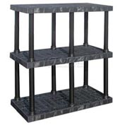 "Structural Plastic Adjustable Vented Shelving, 48""W x 24""D x 45""H, Black"