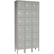Global™ Locker Six Tier 12x18x12 18 Door Ready To Assemble Gray