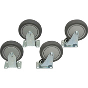 "Jamco 5"" x 1-1/4"" Thermorubber Caster Kit T5 set, 2 Rigid, 2 Swivel"