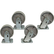 "Jamco 5"" x 2"" Steel Caster Kit L7 set, 2 Rigid, 2 Swivel"