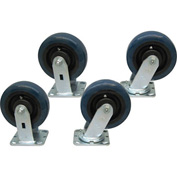 "Jamco 6"" x 2"" Urethane Caster Kit U6 set, 2 Rigid, 2 Swivel"