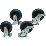 "Jamco 6"" x 2"" Urethane Caster Kit U6 B6 set, 2 Rigid, 2 Swivel with Brakes"