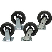 "Jamco 6"" x 2"" Mold-on Rubber Caster Kit R6 set, 2 Rigid, 2 Swivel"
