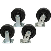 "Jamco 6"" x 2"" Phenolic Caster Kit P6 set, 2 Rigid, 2 Swivel"
