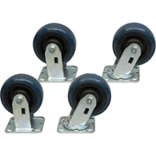"Jamco 5"" x 2"" Urethane Caster Kit U7 set, 2 Rigid, 2 Swivel"