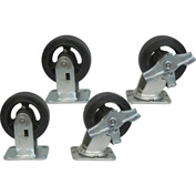 "Jamco 5"" x 2"" Mold-on Rubber Caster Kit R7 B7 set, 2 Rigid, 2 Swivel with Brakes"