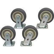 "Jamco 6"" x 2"" Thermorubber Caster Kit T6 set, 2 Rigid, 2 Swivel"