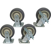 "Jamco 6"" x 2"" Thermorubber Caster Kit T6 B6 set, 2 Rigid, 2 Swivel with Brakes"