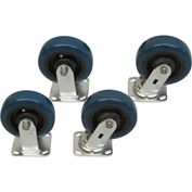 "Jamco 6"" x 2"" Urethane Caster Kit S6 set, Stainless Rigs, 2 Rigid, 2 Swivel"