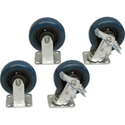 """Jamco 6"""" x 2"""" Urethane Caster Kit S6 BY set, Stainless Rigs, 2 Rigid, 2 Swivel with Brakes"""