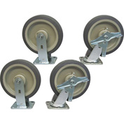 "Jamco 8"" x 2"" Thermorubber Caster Kit T8 set, 2 Rigid, 2 Swivel"