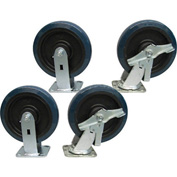 "Jamco 8"" x 2"" Urethane Caster Kit U8 B8 set, 2 Rigid, 2 Swivel with Brakes"