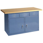 "72""W x 30""D Maple Top Heavy Duty 3 Drawer/2 Cabinet Workbench"