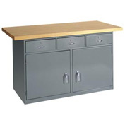 "60""W x 30""D Shop Top Heavy Duty 3 Drawer/2 Cabinet Workbench"