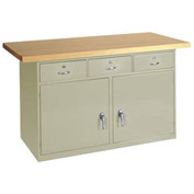 "60""W X 30""D Maple Top Heavy Duty 3 Drawer/2 Cabinet Bench"