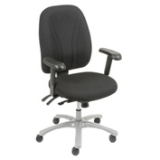 Multifunctional Office Chair with Arms - Fabric - High Back - Black