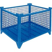 """Topper Stackable Steel Container 61010BKDG Wire Mesh, Drop Gate, 48""""L x 42""""W x 24""""H, Black"""