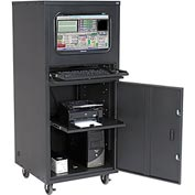 Deluxe Mobile Security Computer Cabinet - Black - Unassembled