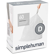 simplehuman Trash Can Liner Code D 5 Gallon, 15.8 x 28, 1.18 Mil, White, Pack of 240
