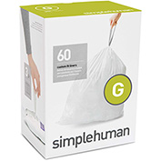 simplehuman Trash Can Liner Code G 8 Gallon, 17.5 x 28, 1.18 Mil, White, Pack of 240