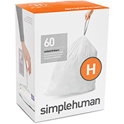 simplehuman® Trash Can Liner Code H - 9 Gallon, 18.5 x 28, 1.18 Mil, White, Pack of 240