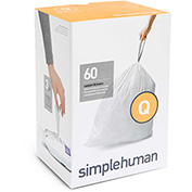 simplehuman Trash Can Liner Code Q 17 Gallon, 25.2 X 32.7, 1.18 Mil, White, Pack of 240