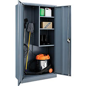 Global™ Janitorial Cabinet Easy Assembly 36x18x72 Gray