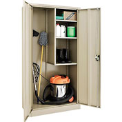 Global™ Janitorial Cabinet Easy Assembly 36x18x72 Tan