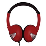 Headphones with Vinyl Earpads and Adjustable Headband Red