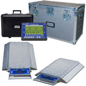 Wheel Load Scale System 80000 x 10lb W/ 4 Double-Wide 20000lb. Pads, Wireless Handheld Indicator