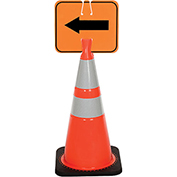 Cone Sign - Reversible Arrow - Black on Orange