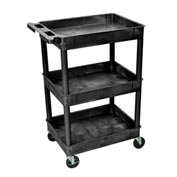"Luxor® STC111 Tray Top Shelf 3 Shelf Plastic Utility Cart 24x18 4"" Casters"