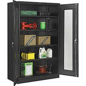 Global™ Storage Cabinet With Expanded Metal Door Assembled  48x24x78 Black