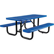"72"" Rectangular Perforated Picnic Table, Blue"