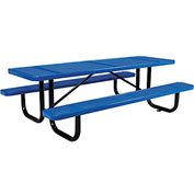 "96"" Rectangular Perforated Picnic Table, Blue"