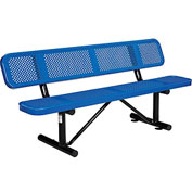"72"" Perforated Picnic Bench With Backrest, Blue"