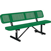 "72"" Perforated Picnic Bench With Backrest, Green"
