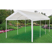 "Global Stationary Straight Leg Canopy 602193, 20'L X 10'W X 9' 6""H X 1-5/16"" Dia., White"