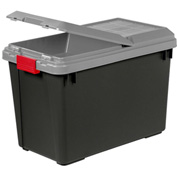 IRIS 250194 Tote Truck With Compartment On Lid, 92.5 Qt. Black With Gray Lid