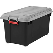 IRIS 250225 Airtight Seal Truck, 87.4 Qt, Black With Gray Lid - Pkg Qty 4