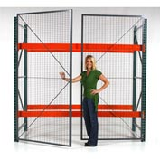 "Wirecrafters - RackBack® Wire Mesh Pallet Rack Enclosure -Hinged Door 120""x96"""