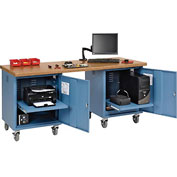 72 x 30 Shop Top Safety Edge Mobile Pedestal Workbench Blue