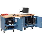 72 x 30 Maple Safety Edge Mobile Pedestal Workbench Blue